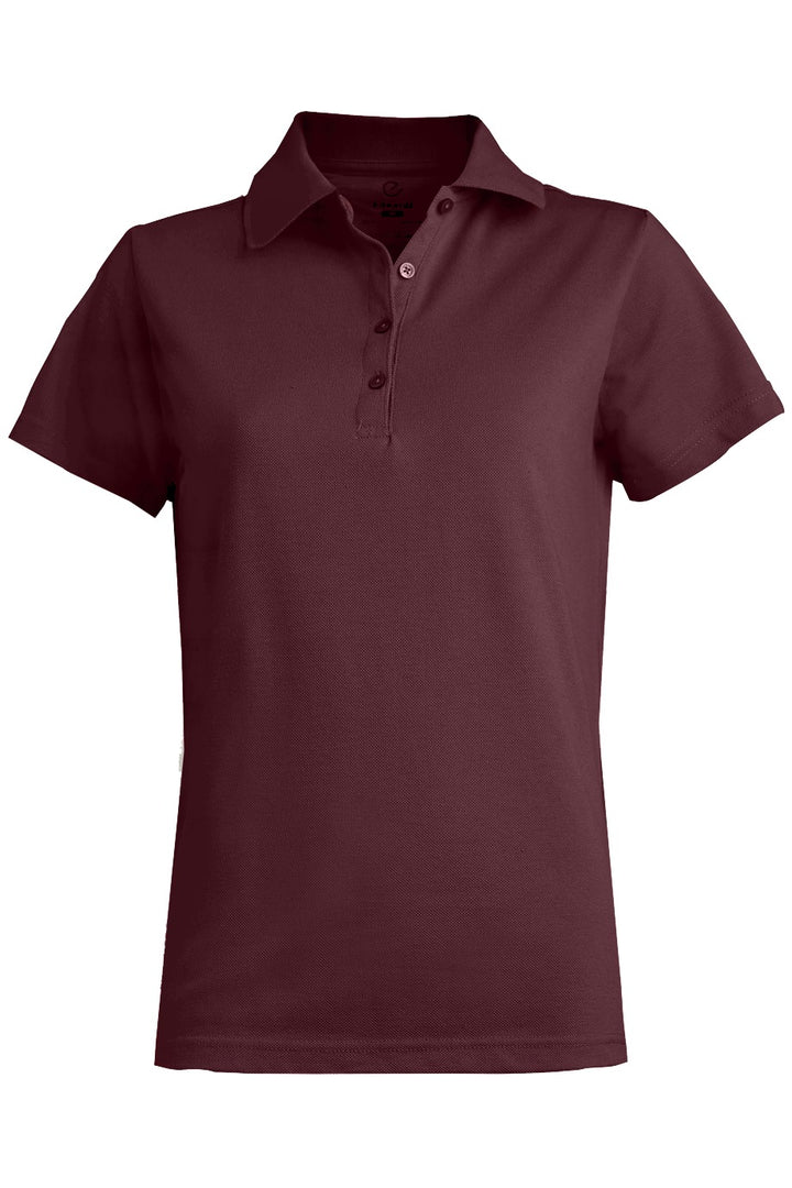 Women's Burgundy Blended Pique Short Sleeve Polo