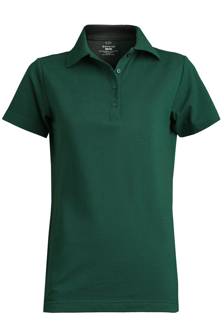 Women's Hunter Green Blended Pique Short Sleeve Polo