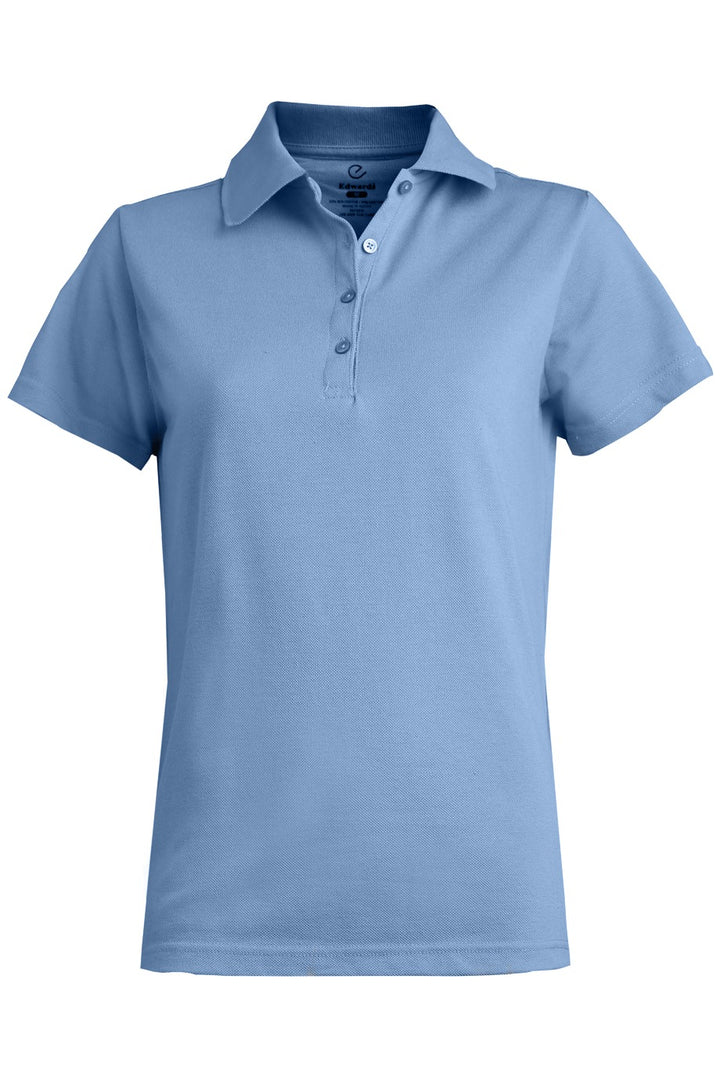 Women's Light Blue Blended Pique Short Sleeve Polo