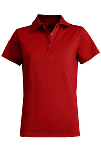 Women's Red Blended Pique Short Sleeve Polo