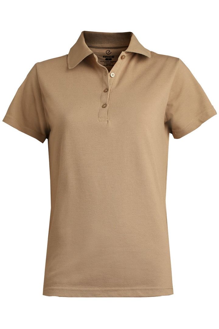 Women's Tan Blended Pique Short Sleeve Polo