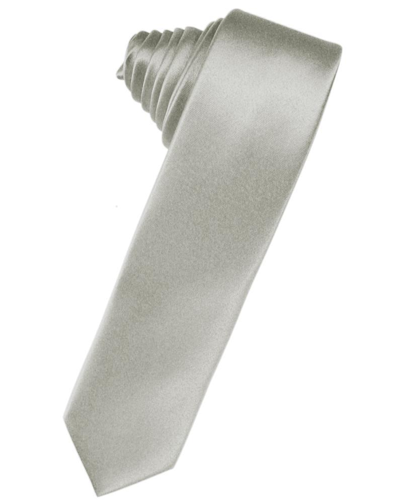 Platinum Luxury Satin Skinny Necktie