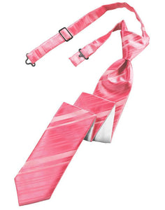 Bubblegum Striped Satin Skinny Necktie