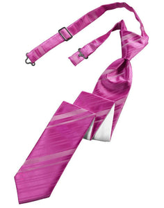 Fuchsia Striped Satin Skinny Necktie