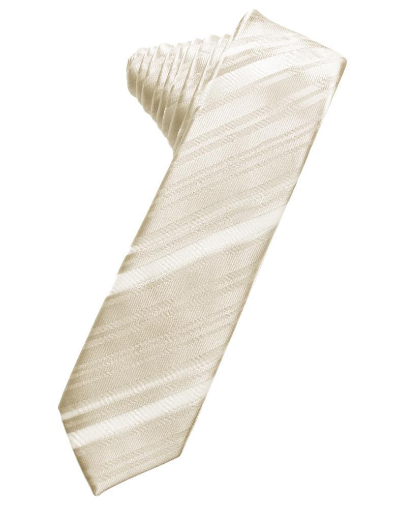 Ivory Striped Satin Skinny Necktie