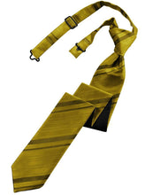 Load image into Gallery viewer, Gold Striped Satin Skinny Necktie