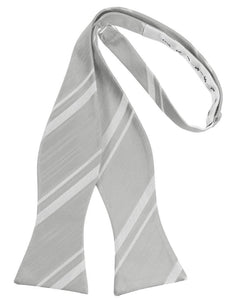 Platinum Striped Satin Bow Tie