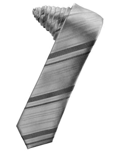 Silver Striped Satin Skinny Necktie