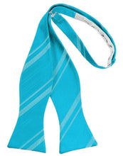 Load image into Gallery viewer, Turquoise Striped Satin Bow Tie