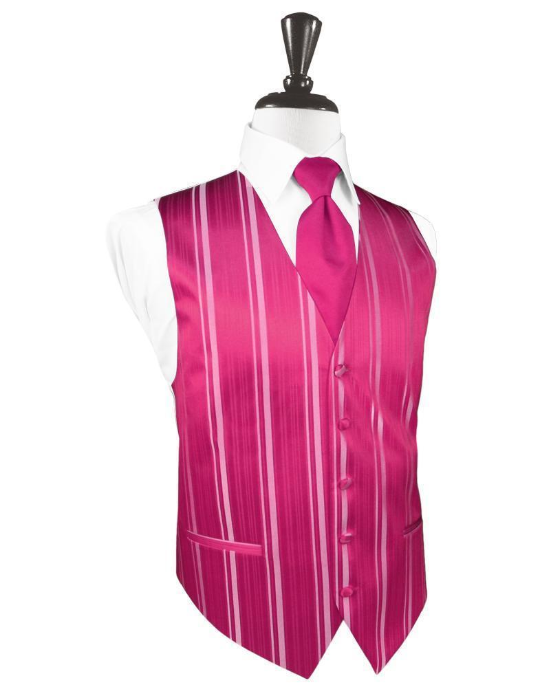 Watermelon Striped Satin Tuxedo Vest