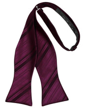 Load image into Gallery viewer, Wine Striped Satin Bow Tie