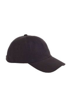 Black 6-Panel Brushed Twill Unstructured Cap