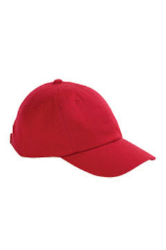 Red 6-Panel Brushed Twill Unstructured Cap