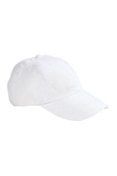 White 6-Panel Brushed Twill Unstructured Cap
