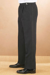 """George"" Black Polyester Pleated Tuxedo Pants"