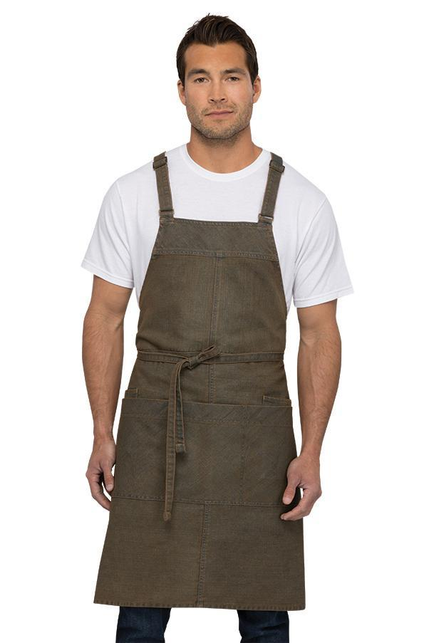 Uptown Cross-Back Blue-Taupe Bib Apron