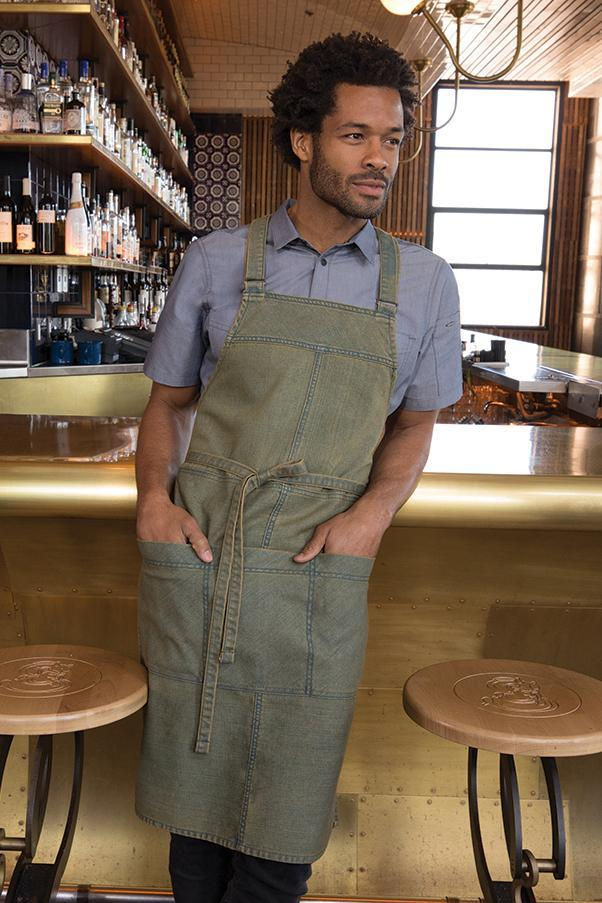 Uptown Cross-Back Blue-Yellow Bib Apron