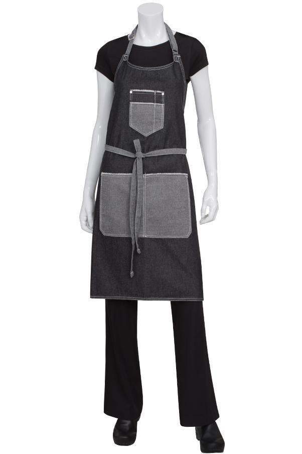 Black Bronx Bib Apron with Scoop Neck