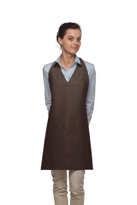 Brown 2 Pocket V-Neck Tuxedo Bib Apron
