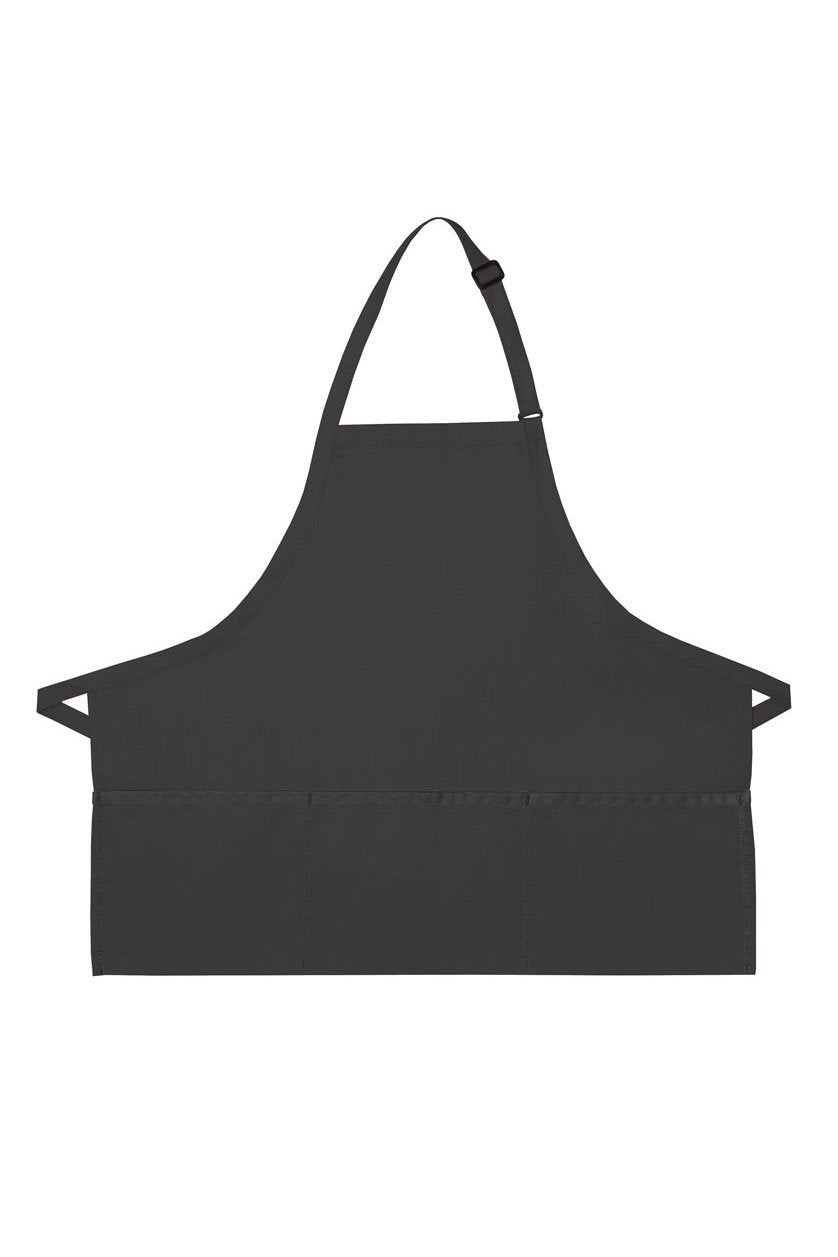 Charcoal Deluxe Bib XL Adjustable Apron (3 Pockets)