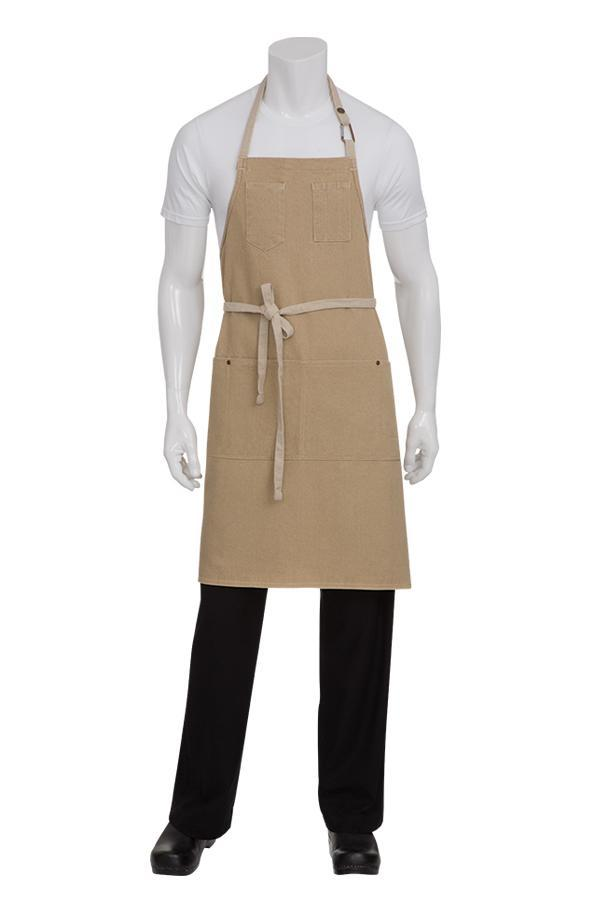 Natural Austin Bib Adjustable Apron (2 Pockets)