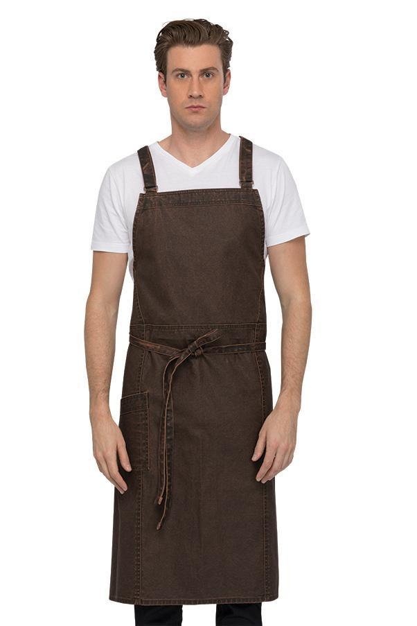 Denver Chef's Cross-Back Chocolate Rust Bib Apron