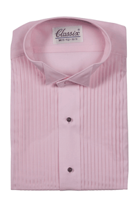 """Jaxson"" Pink Pleated Wingtip Tuxedo Shirt"