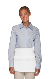 White Rounded Waist Apron (6 Pockets)