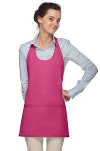 Hot Pink Scoop Neck Bib Adjustable Apron (3 Pockets)
