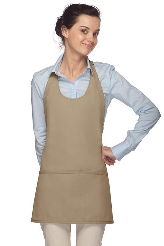 Khaki Scoop Neck Bib Adjustable Apron (3 Pockets)