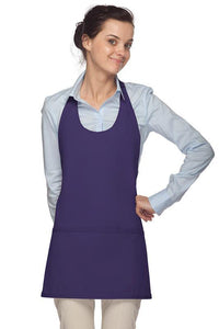 Purple Scoop Neck Bib Adjustable Apron (3 Pockets)