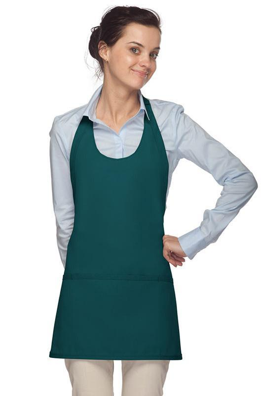 Teal Scoop Neck Bib Adjustable Apron (3 Pockets)