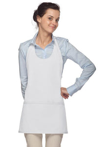 White Scoop Neck Bib Adjustable Apron (3 Pockets)