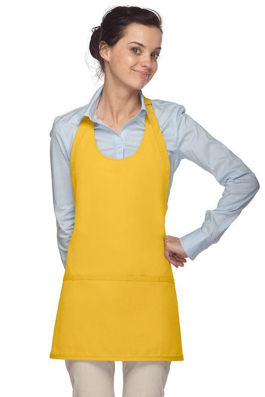 Yellow Scoop Neck Bib Adjustable Apron (3 Pockets)