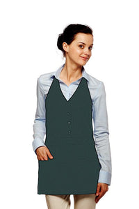 Hunter Green Single Breasted Bib Adjustable Apron (3 Pockets)