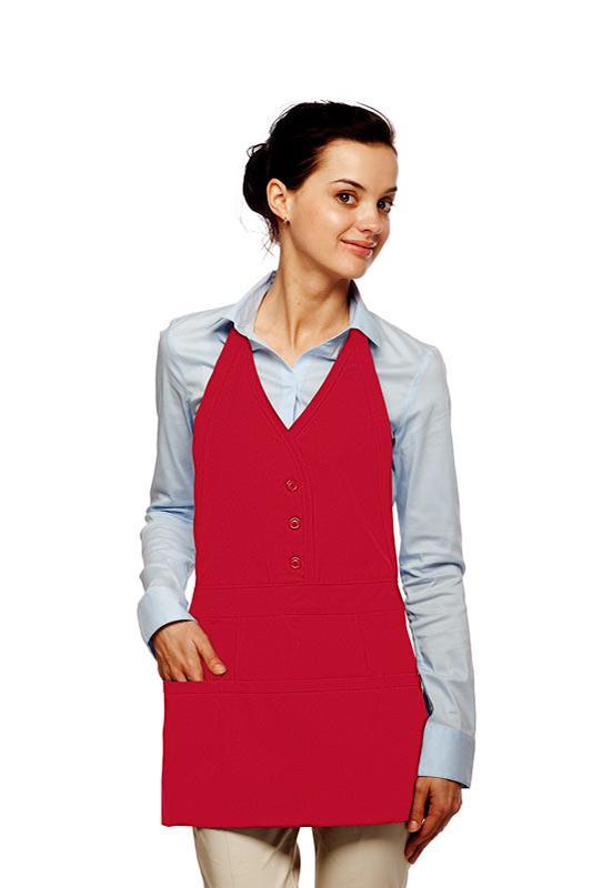 Red Single Breasted Bib Adjustable Apron (3 Pockets)