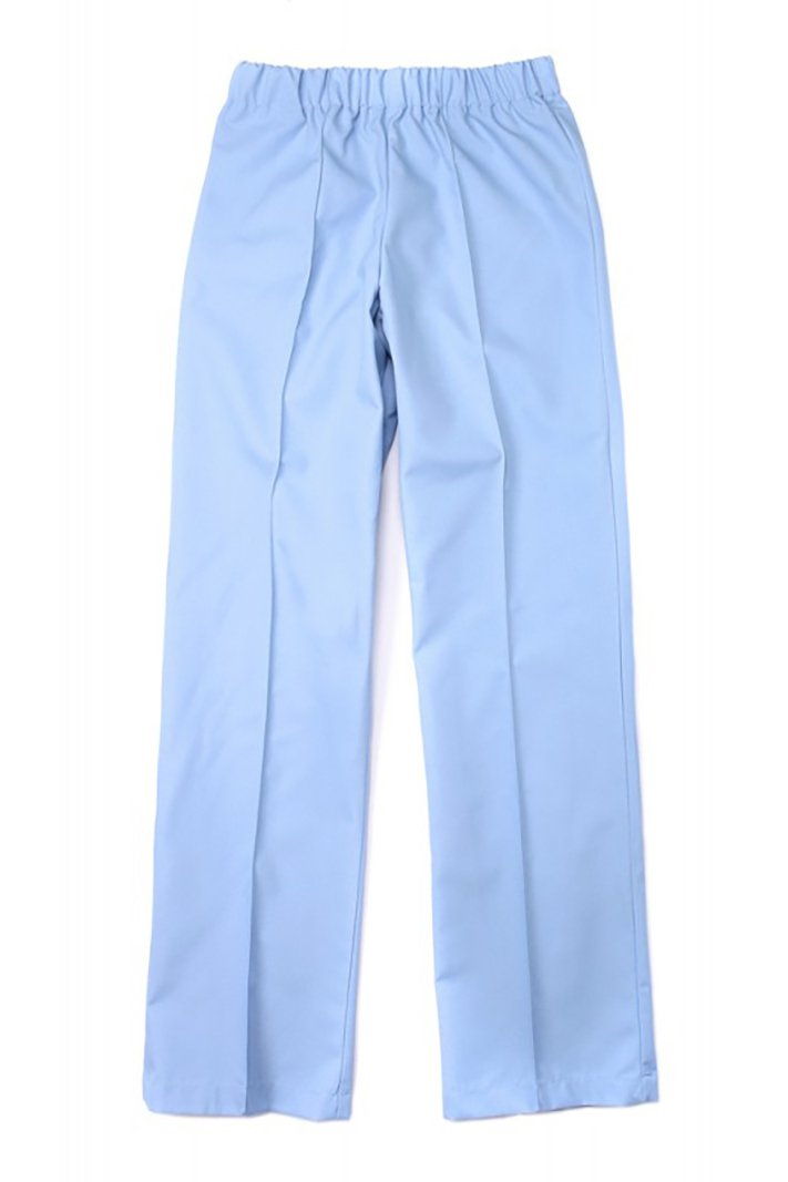 Women's Light Blue Elastic Waistband Poplin Housekeeping Pants