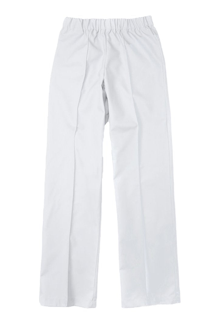 Women's White Elast Waistband Poplin Housekeeping Pants