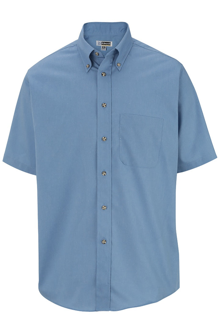 Men's Denim Blue Easy Care Short Sleeve Poplin Shirt