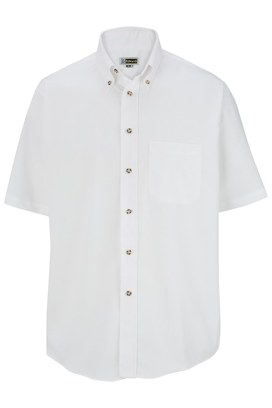 Men's White Easy Care Short Sleeve Poplin Shirt