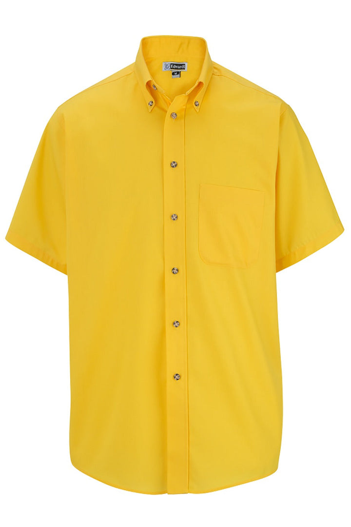 Men's Yellow Easy Care Short Sleeve Poplin Shirt