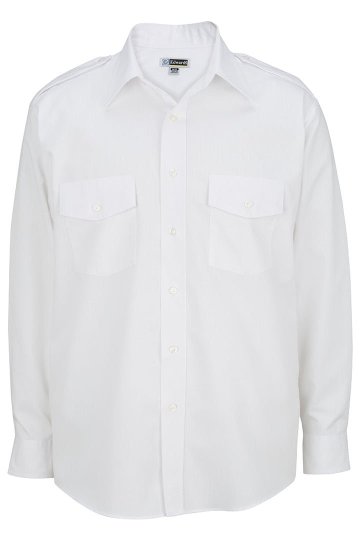 Men's White Long Sleeve Navigator Shirt