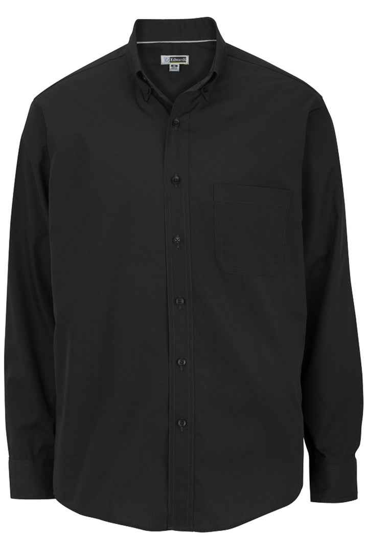 Men's Black Lightweight Long Sleeve Poplin Shirt
