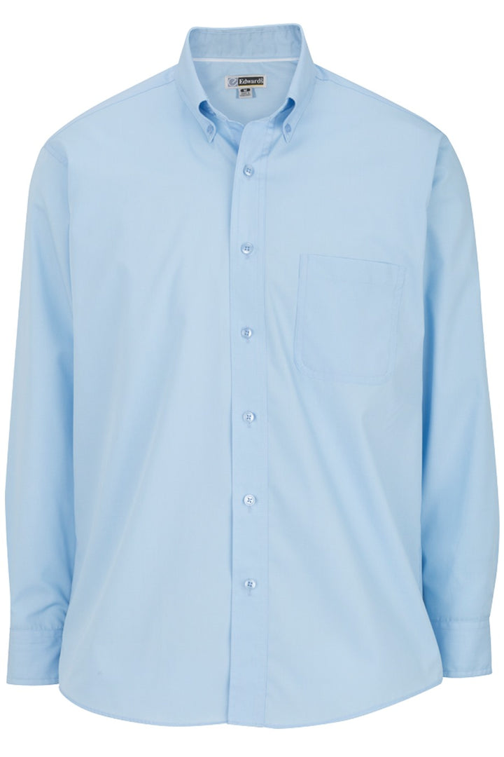 Men's Blue Lightweight Long Sleeve Poplin Shirt