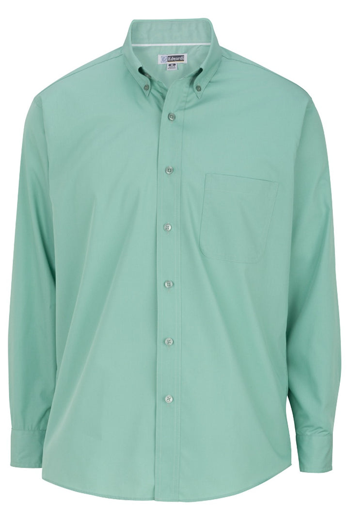 Men's Mist Green Lightweight Long Sleeve Poplin Shirt