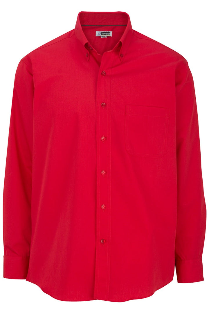Men's Red Lightweight Long Sleeve Poplin Shirt