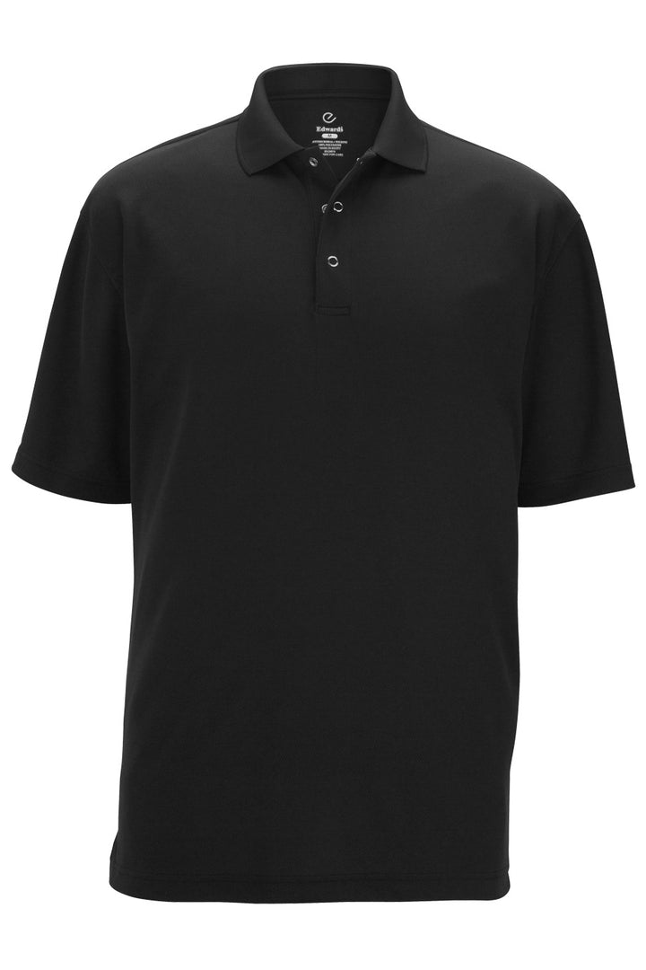 Men's Black Snap Front Hi-Performance Short Sleeve Polo