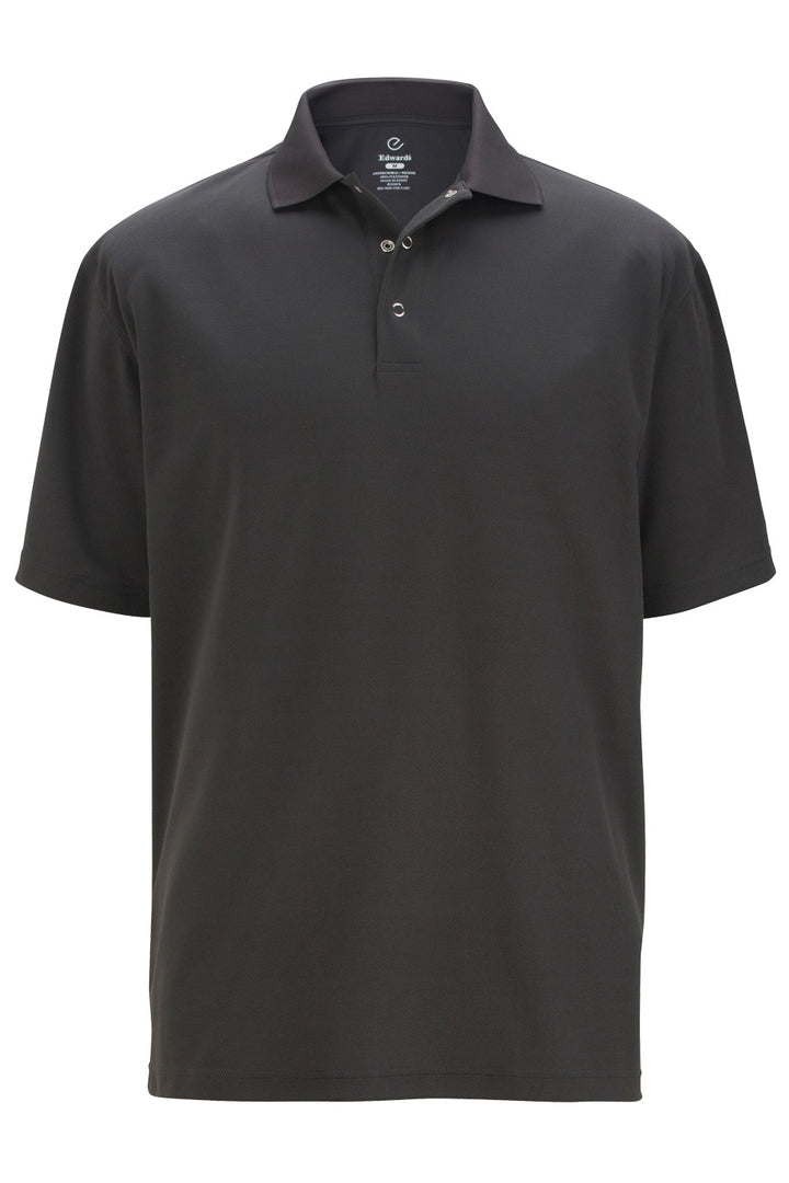 Men's Steel Grey Snap Front Hi-Performance Short Sleeve Polo