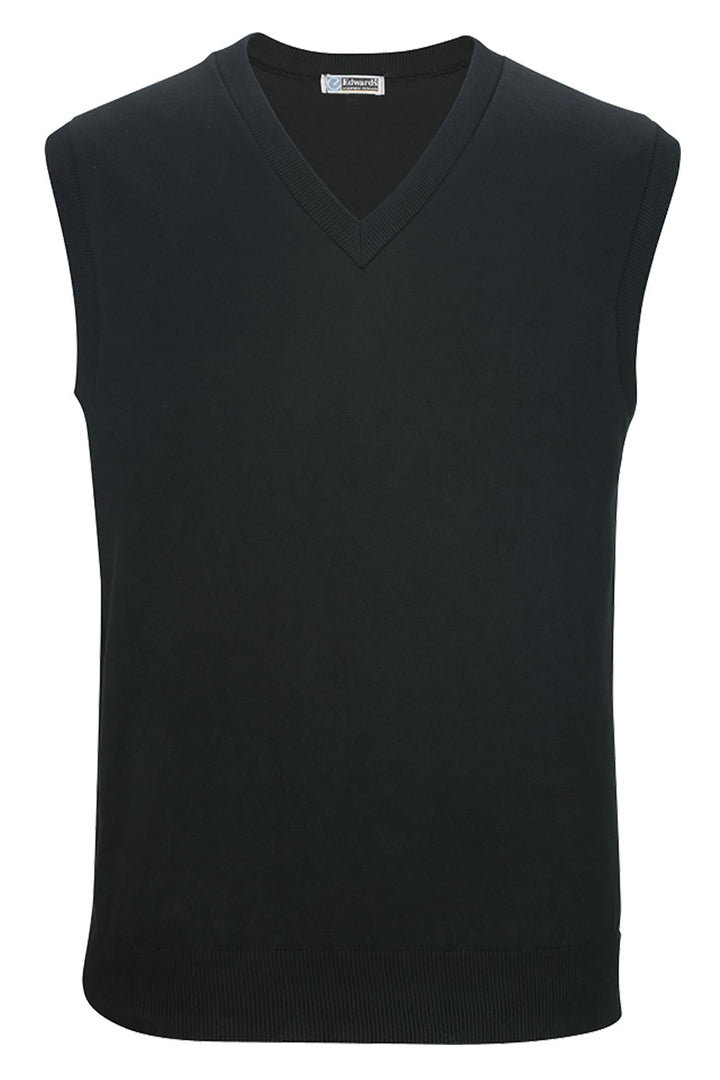 V-Neck Black Cotton Blend Sweater Vest