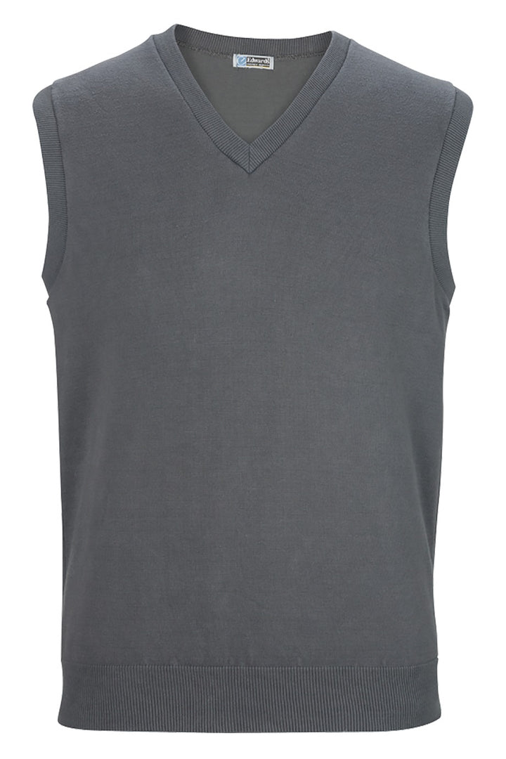 V-Neck Steel Grey Cotton Blend Sweater Vest